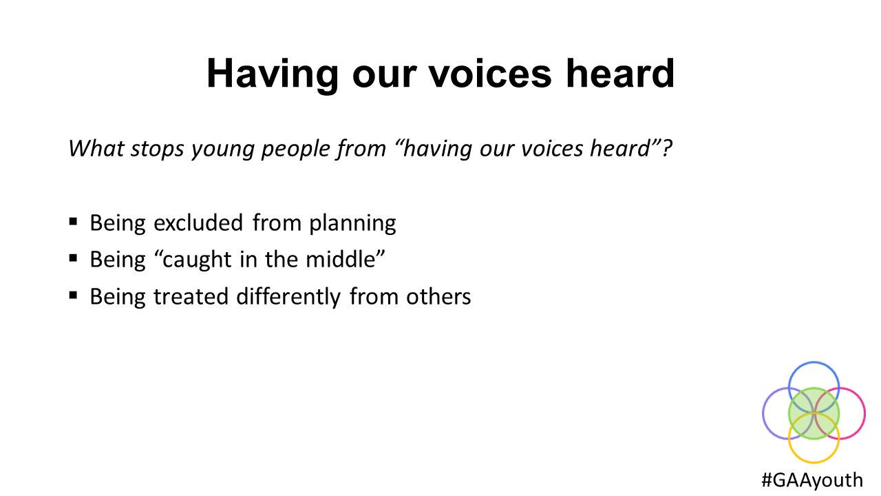 Having our voices heard #GAAyouth What stops young people from having our voices heard .