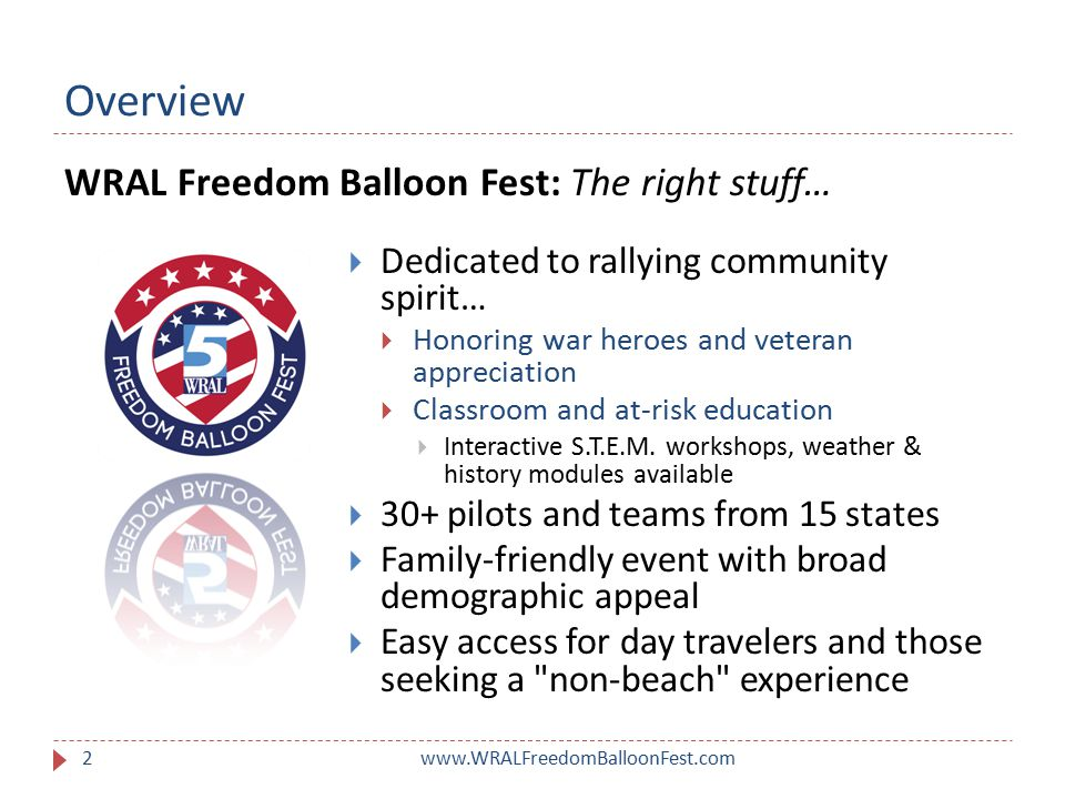 Overview www.WRALFreedomBalloonFest.com2  Dedicated to rallying community spirit…  Honoring war heroes and veteran appreciation  Classroom and at-risk education  Interactive S.T.E.M.