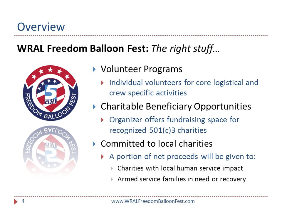 Overview www.WRALFreedomBalloonFest.com5  Build large scale consumer awareness  Drive traffic in support of other sponsors  Activation well before event:  TV Spots, News, Weather & Features  Radio Spots, Consumer Contests, Promos & Interviews  Web & Social  Durham Bulls and other pre-festival activation A Title Sponsor committed to the success of the festival offering significant media exposure to…