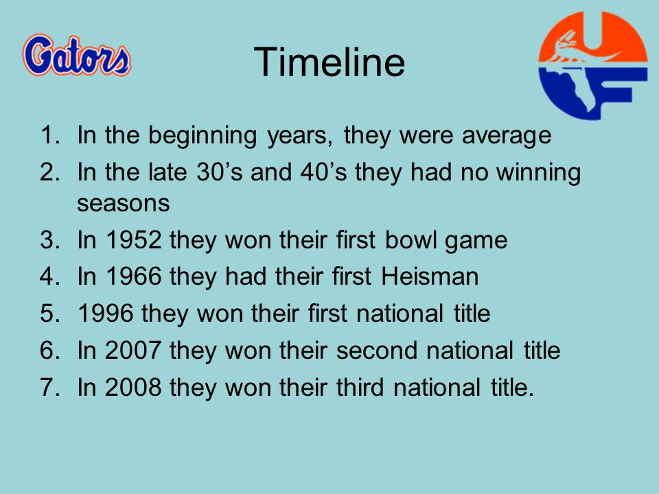 SeasonBowl GameWinnerLoser 1912Bacardi BowlBacardi Bowl†Florida 28Vedado Athletic Club 0 1952Gator BowlFlorida 14TulsaTulsa 13 1958Gator BowlMississippiMississippi 7Florida 3 1960Gator BowlFlorida 13BaylorBaylor 12 1962Gator BowlFlorida 17Penn StatePenn State 7 1965Sugar BowlMissouriMissouri 20Florida 18 1966Orange BowlFlorida 27Georgia TechGeorgia Tech 12 1969Gator BowlFlorida 14TennesseeTennessee 13 1973Tangerine BowlMiami UniversityMiami University 16Florida 7 1974Sugar BowlNebraskaNebraska 13Florida 10 1975Gator BowlMarylandMaryland 13Florida 0 1976Sun BowlTexas A&MTexas A&M 37Florida 14 1980Tangerine BowlFlorida 35Maryland 20 1981Peach BowlWest VirginiaWest Virginia 26Florida 6 1982Bluebonnet BowlArkansasArkansas 28Florida 24 1983Gator BowlFlorida 14IowaIowa 6 1987Aloha BowlUCLAUCLA 20Florida 16 1988All-American BowlFlorida 14IllinoisIllinois 10 1989Freedom BowlWashingtonWashington 34Florida 7 1991Sugar BowlNotre DameNotre Dame 39Florida 28 1992Gator BowlFlorida 27NC StateNC State 10 1993Sugar BowlFlorida 41West Virginia 7 1994Sugar BowlFlorida StateFlorida State 23Florida 17 1995Fiesta BowlFiesta Bowl (Title Game)Nebraska 62Florida 24 1996Sugar BowlSugar Bowl (Title Game)Florida 52Florida State 20 1997Florida Citrus BowlFlorida 21Penn State 6 1998Orange BowlFlorida 31SyracuseSyracuse 10 1999Florida Citrus BowlMichigan StateMichigan State 37Florida 34 2000Sugar BowlMiamiMiami 37Florida 20 2001Orange BowlFlorida 56Maryland 23 2002Outback BowlMichiganMichigan 38Florida 30 2003Outback BowlIowa 37Florida 17 2004Peach BowlMiami 27Florida 10 2005Outback BowlFlorida 31Iowa 24 2006BCS National Championship GameFlorida 41Ohio StateOhio State 14 2007Capital One BowlMichigan 41Florida 35 2008BCS National Championship GameFlorida 24OklahomaOklahoma 14 2009Sugar BowlFlorida 51CincinnatiCincinnati 24 Bowl Game Results