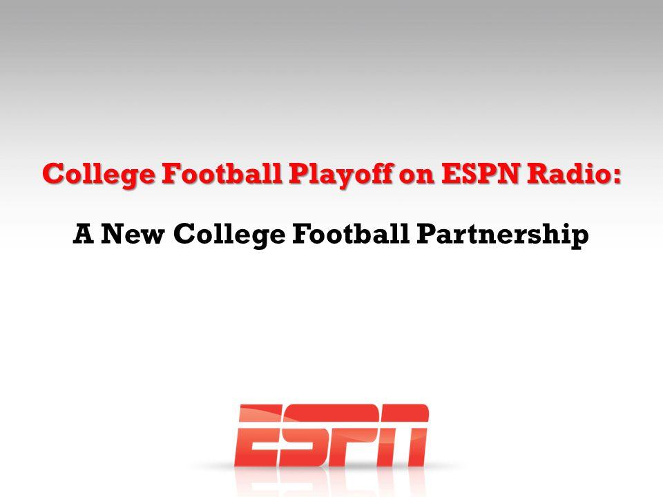 College Football Playoff on ESPN Radio: A New College Football Partnership