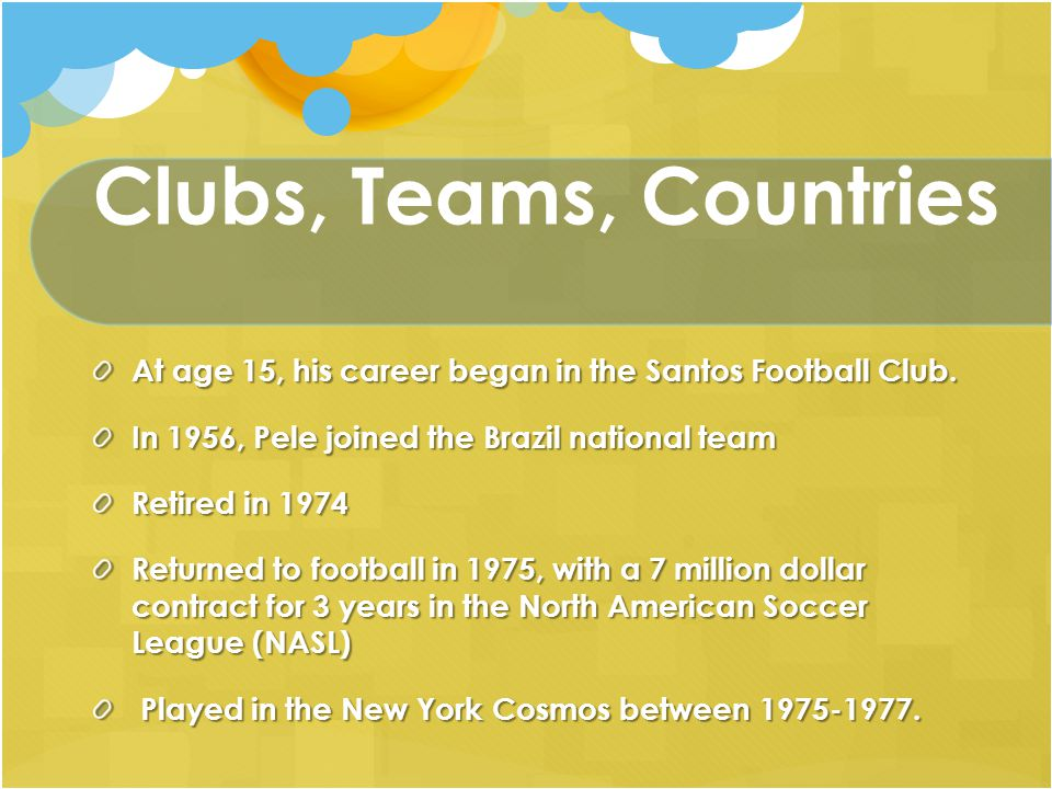 Bibliography Pele PowerPoint Presentation http://www.cn174world.co.uk Date accessed: 24/11/10 Biography of Pele Soccer Fans Info http://www.soccer-fans- info.com/biography-of-pele.html http://www.soccer-fans- info.com/biography-of-pele.html Date accessed: 24/11/10 Pele Football Quotes Expert Football http://expertfootball.com/gossip/quot es.php?search=Pele Date accessed: 24/11/10 Learn to Play Soccer with Pele 360 Soccer http://www.360soccer.com/pele/pele play.html Date accessed: 24/11/10 Pele NovelGuide http://www.novelguide.com/a/discove r/nspf_03/nspf_03_00431.html Date accessed: 25/11/10