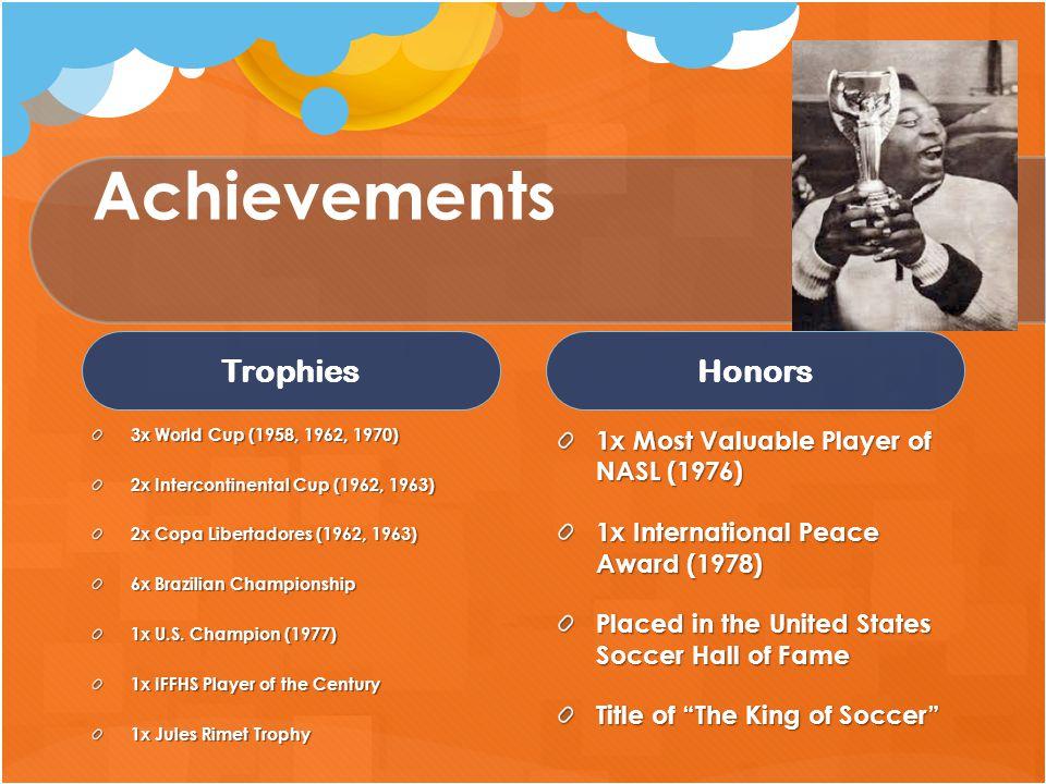 Achievements Trophies 3x World Cup (1958, 1962, 1970) 2x Intercontinental Cup (1962, 1963) 2x Copa Libertadores (1962, 1963) 6x Brazilian Championship 1x U.S.