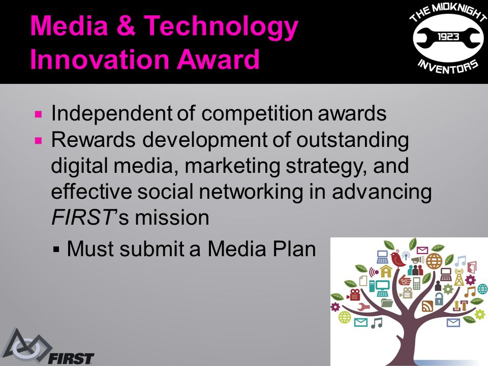  Independent of competition awards  Rewards development of outstanding digital media, marketing strategy, and effective social networking in advancing FIRST's mission  Must submit a Media Plan