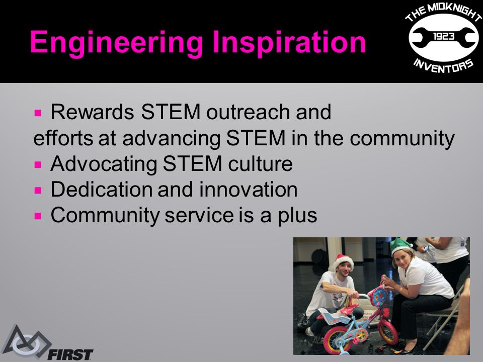  Rewards STEM outreach and efforts at advancing STEM in the community  Advocating STEM culture  Dedication and innovation  Community service is a plus