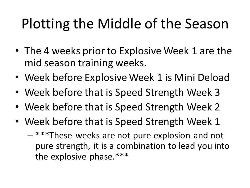 Plotting the Middle of the Season The 4 weeks prior to Explosive Week 1 are the mid season training weeks.