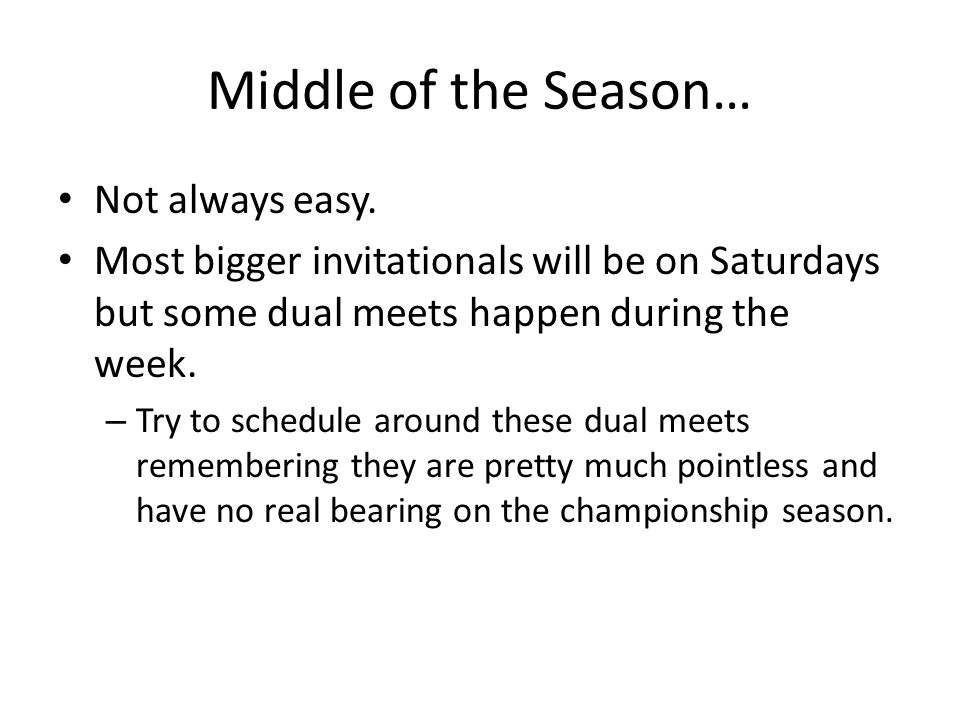Middle of the Season… Not always easy.