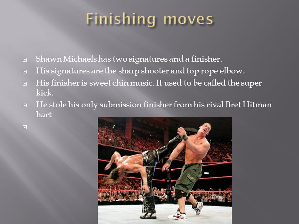  Shawn Michaels has two signatures and a finisher.