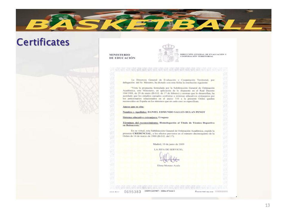 13 Certificates