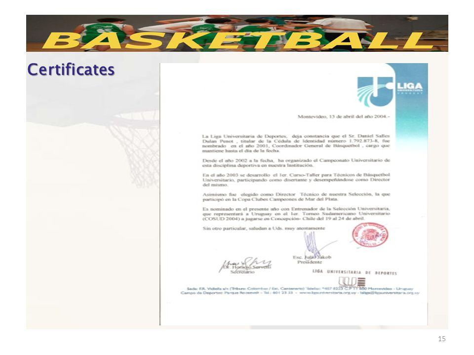 15 Certificates