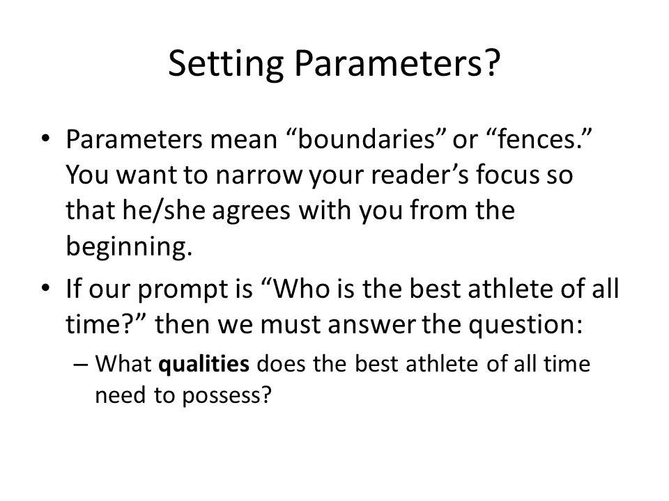 Setting Parameters.