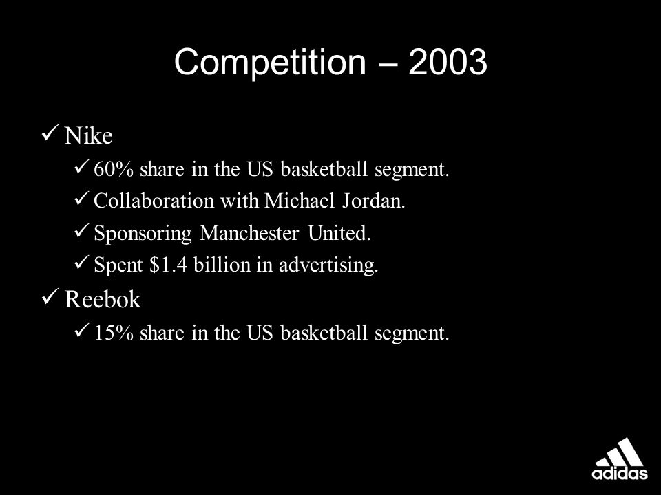Media Adidas continued to use TV marketing to a great extent.