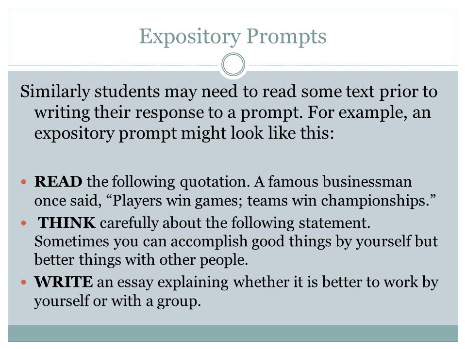 Expository Example READ the following quote.