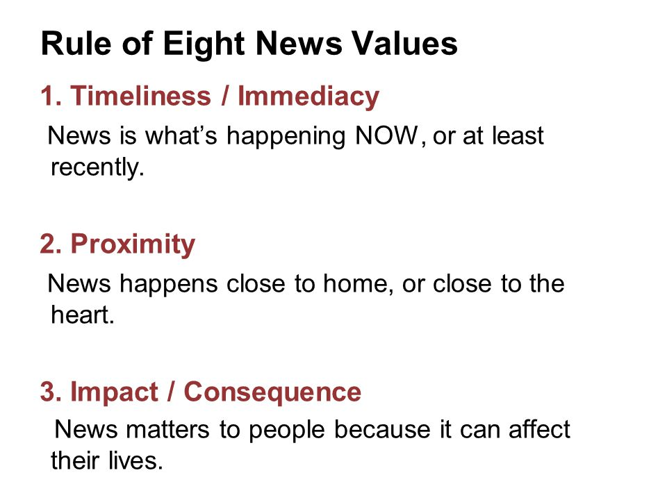Rule of Eight News Values 4.