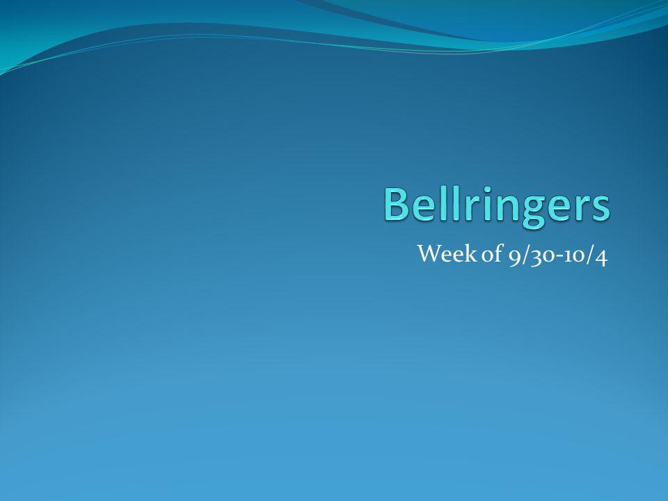 Week of 9/30-10/4