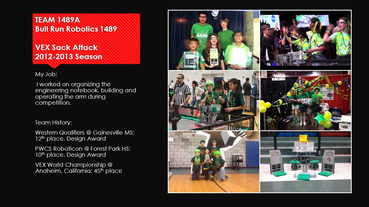 TEAM 1489A Bull Run Robotics 1489 VEX Sack Attack 2012-2013 Season My Job: I worked on organizing the engineering notebook, building and operating the arm during competition.