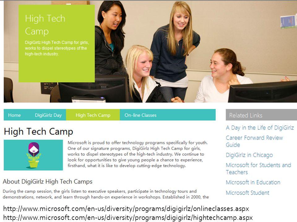 http://www.microsoft.com/en-us/diversity/programs/digigirlz/onlineclasses.aspx http://www.microsoft.com/en-us/diversity/programs/digigirlz/hightechcam