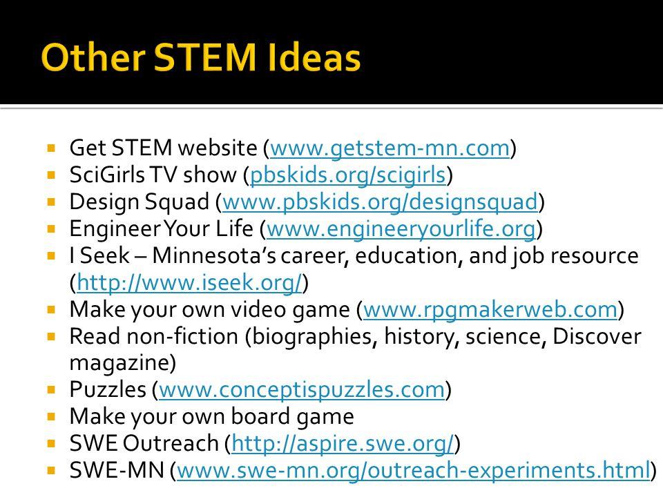  Get STEM website (www.getstem-mn.com)www.getstem-mn.com  SciGirls TV show (pbskids.org/scigirls)pbskids.org/scigirls  Design Squad (www.pbskids.or