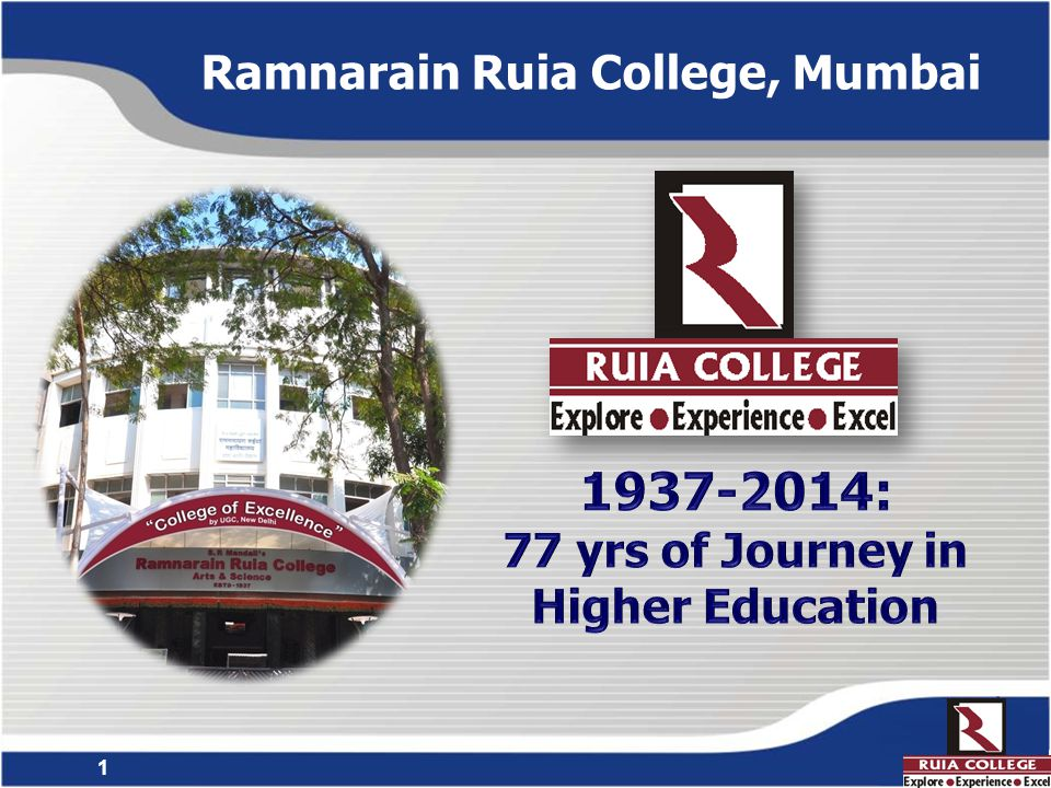 2 Ramnarain Ruia College  Co-ed & Affiliated to University of Mumbai  Total Student Strength ~3000  61 Academic Programmes Unique Achievements  NAAC reaccreditation (3rd Cycle) with 'A' Grade & CGPA 3.65 (1st among all Arts and Science Colleges in Maharashtra)  1 st College in India to be accorded the highest national status College of Excellence by UGC  1st and only college in Maharashtra to be accorded the 'Star Status' to six science Departments by DBT, Govt.