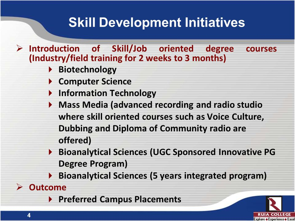 5 Introduction of various Certificate and Diploma Courses to bridge the gap between current curricula and Industry requirement  Number of Certificate Courses : 26  Number of Diploma Courses : 05 Skill Development Initiatives