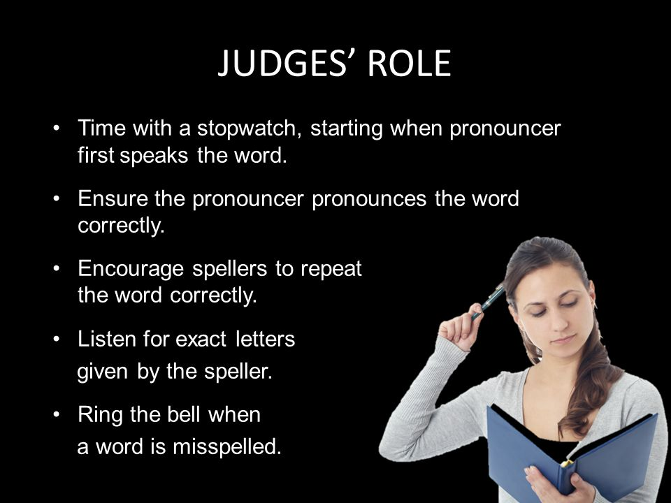 JUDGES' ROLE Time with a stopwatch, starting when pronouncer first speaks the word.