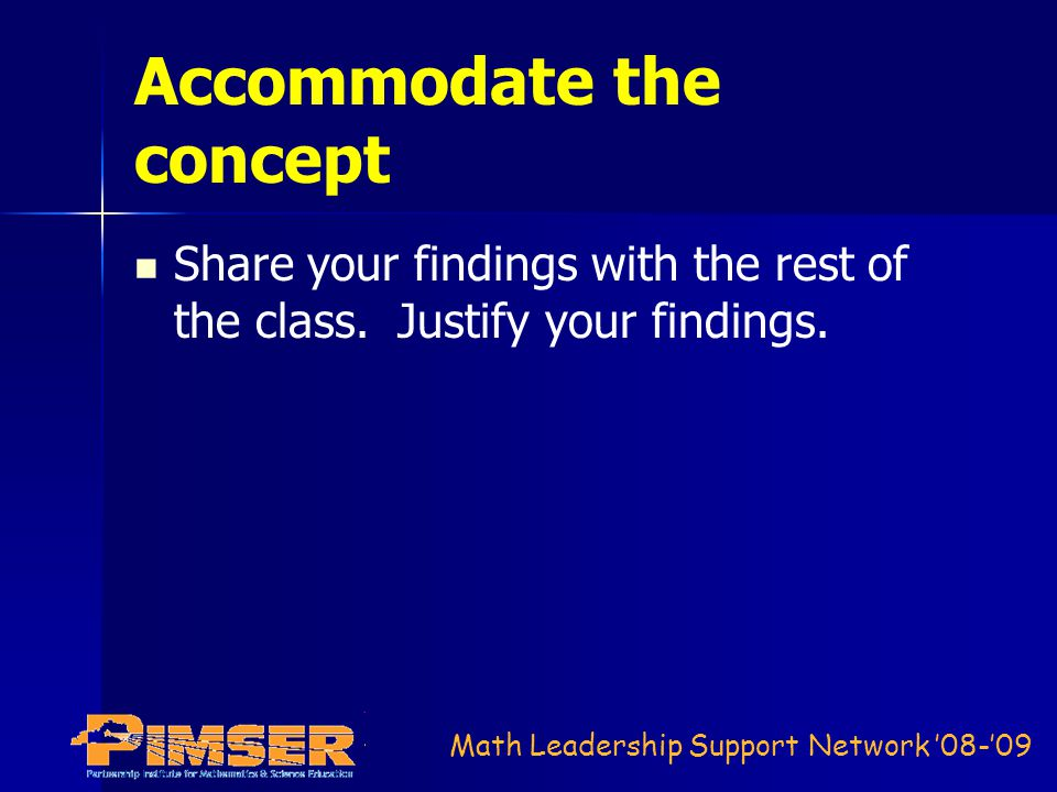Math Leadership Support Network '08-'09 Accommodate the concept Share your findings with the rest of the class.