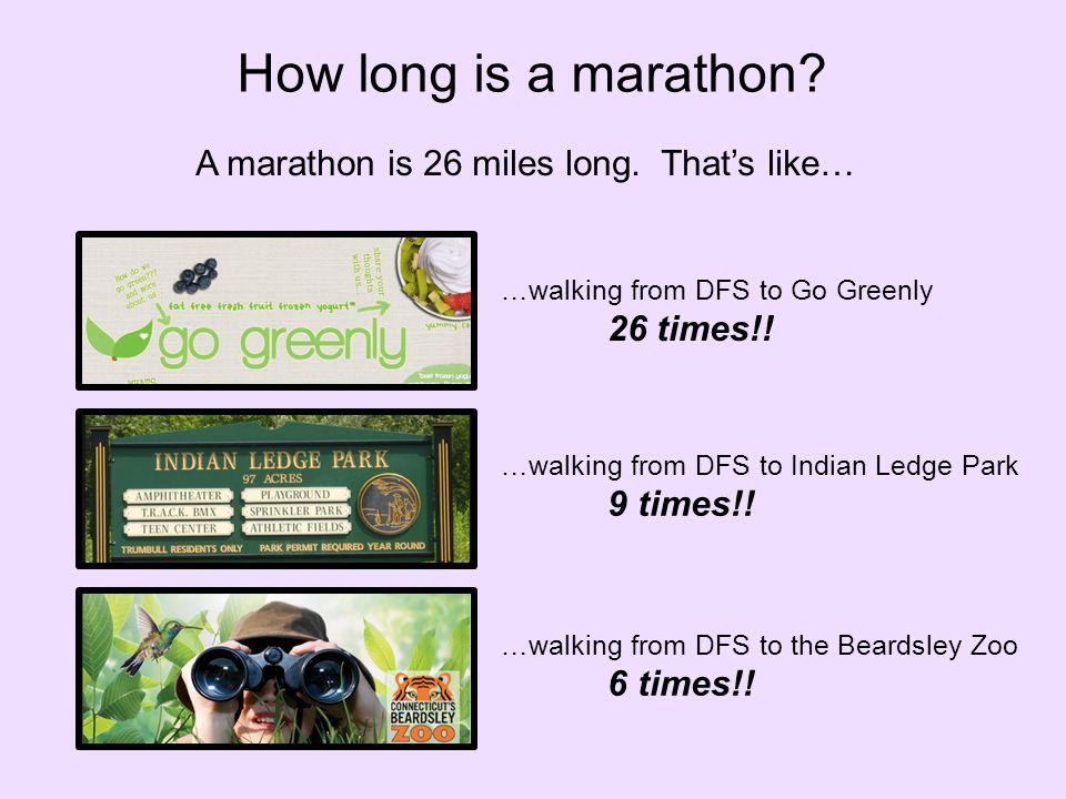A marathon is 26 miles long. That's like… How long is a marathon.