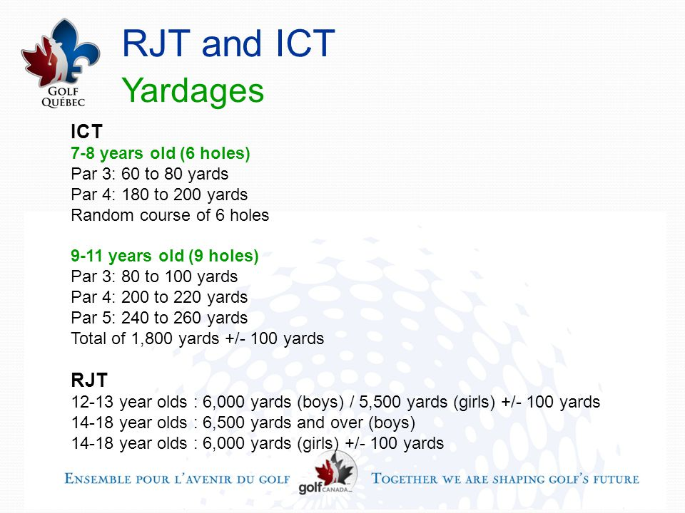 RJT and ICT Yardages ICT 7-8 years old (6 holes) Par 3: 60 to 80 yards Par 4: 180 to 200 yards Random course of 6 holes 9-11 years old (9 holes) Par 3: 80 to 100 yards Par 4: 200 to 220 yards Par 5: 240 to 260 yards Total of 1,800 yards +/- 100 yards RJT 12-13 year olds : 6,000 yards (boys) / 5,500 yards (girls) +/- 100 yards 14-18 year olds : 6,500 yards and over (boys) 14-18 year olds : 6,000 yards (girls) +/- 100 yards