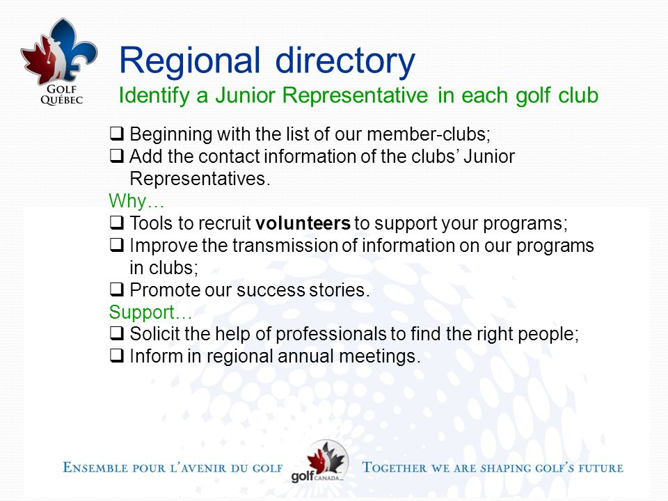 Regional directory Identify a Junior Representative in each golf club  Beginning with the list of our member-clubs;  Add the contact information of the clubs' Junior Representatives.