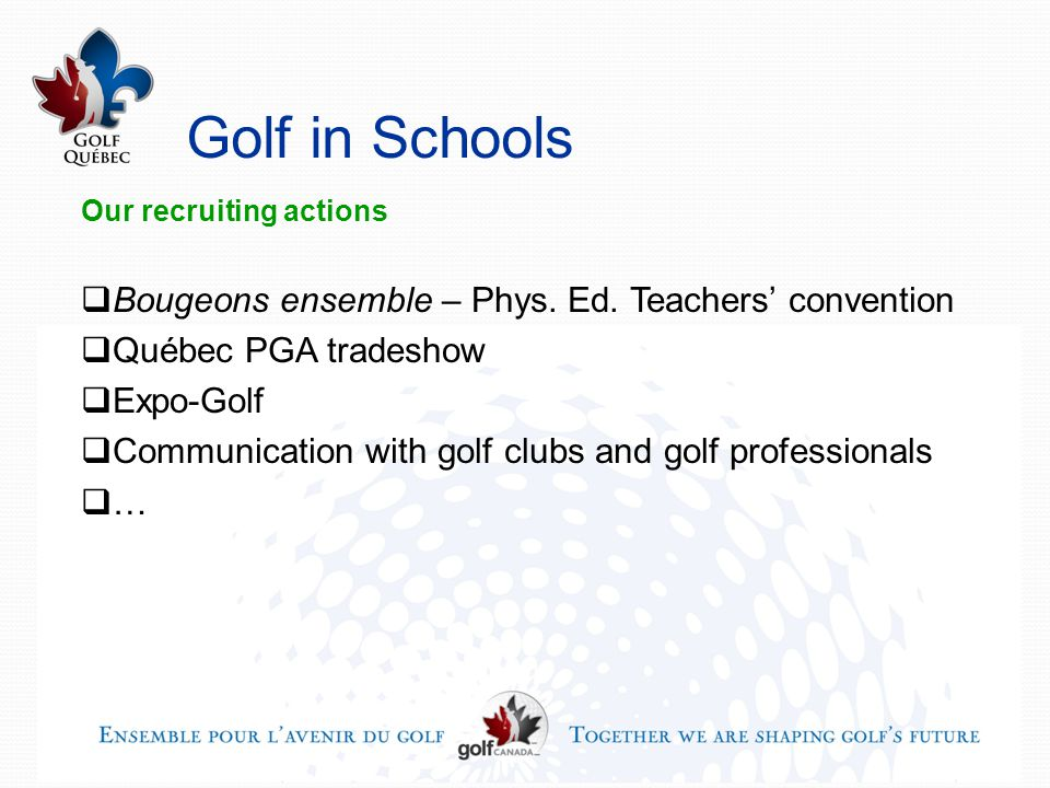 Golf in Schools Our recruiting actions  Bougeons ensemble – Phys.
