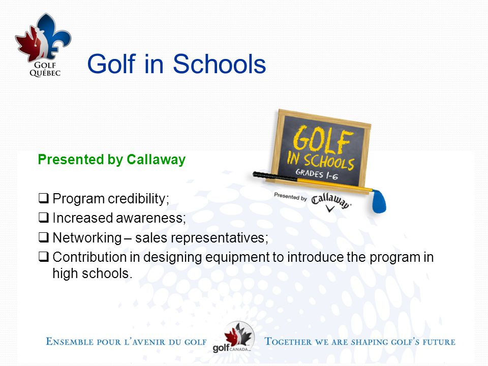 Golf in Schools Presented by Callaway  Program credibility;  Increased awareness;  Networking – sales representatives;  Contribution in designing equipment to introduce the program in high schools.