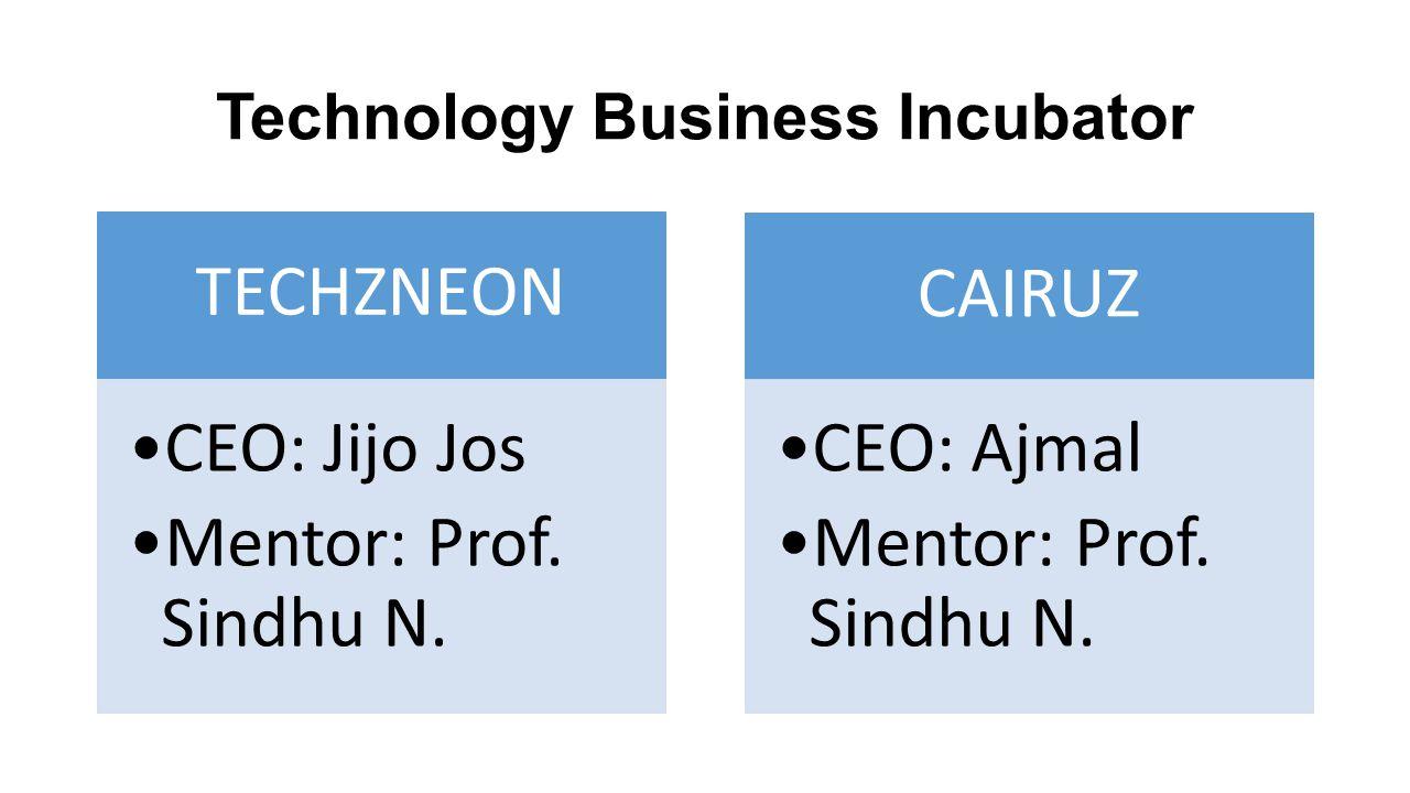 Technology Business Incubator TECHZNEON CEO: Jijo Jos Mentor: Prof. Sindhu N. CAIRUZ CEO: Ajmal Mentor: Prof. Sindhu N.