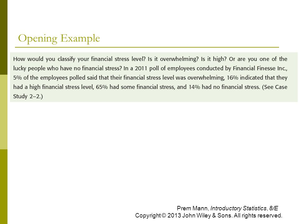 Opening Example Prem Mann, Introductory Statistics, 8/E Copyright © 2013 John Wiley & Sons. All rights reserved.