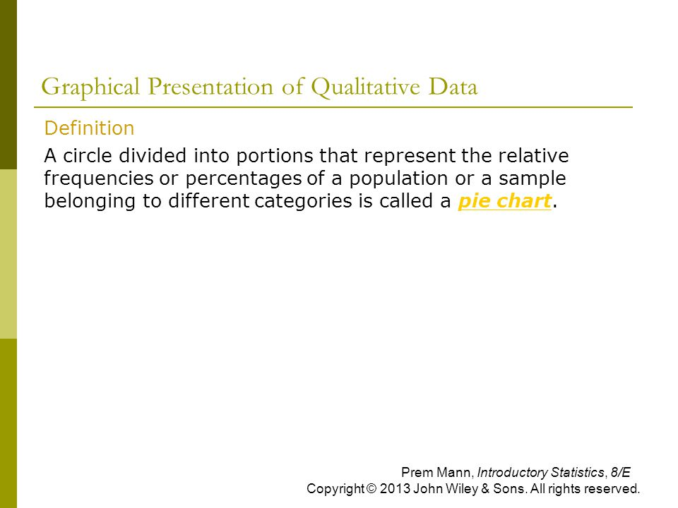 Graphical Presentation of Qualitative Data  Definition  A circle divided into portions that represent the relative frequencies or percentages of a p