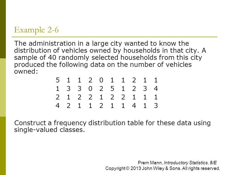 Example 2-6 The administration in a large city wanted to know the distribution of vehicles owned by households in that city. A sample of 40 randomly s