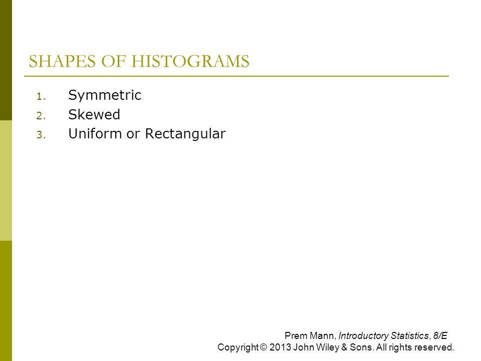 SHAPES OF HISTOGRAMS 1. Symmetric 2. Skewed 3. Uniform or Rectangular Prem Mann, Introductory Statistics, 8/E Copyright © 2013 John Wiley & Sons. All