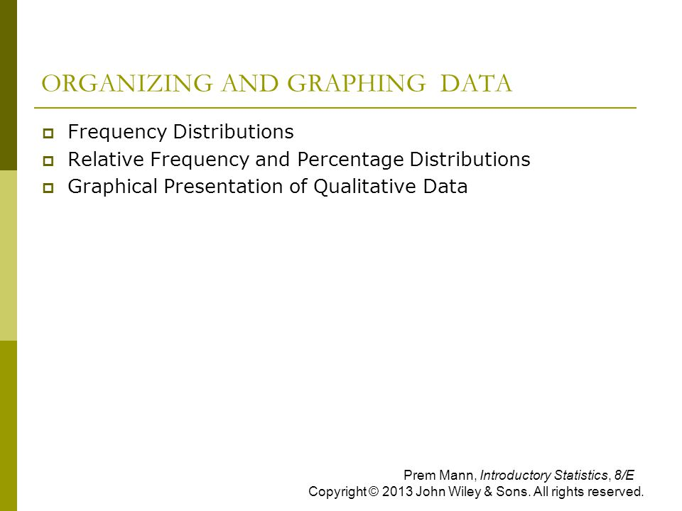 ORGANIZING AND GRAPHING DATA  Frequency Distributions  Relative Frequency and Percentage Distributions  Graphical Presentation of Qualitative Data
