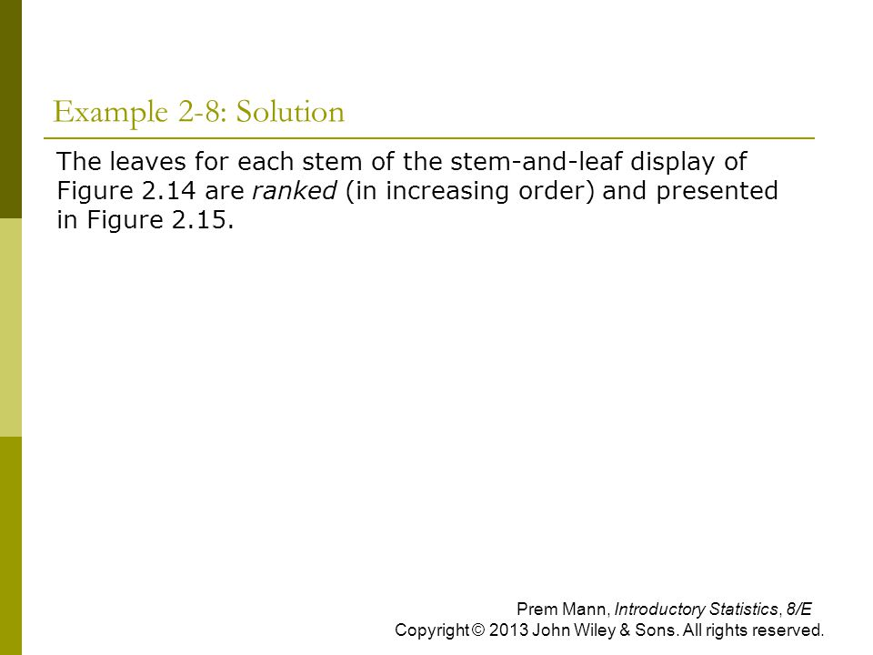 Example 2-8: Solution  The leaves for each stem of the stem-and-leaf display of Figure 2.14 are ranked (in increasing order) and presented in Figure