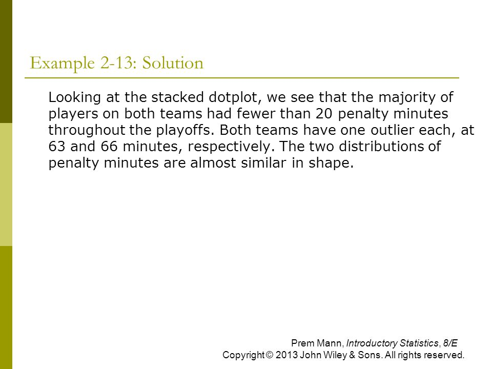 Example 2-13: Solution  Looking at the stacked dotplot, we see that the majority of players on both teams had fewer than 20 penalty minutes throughou
