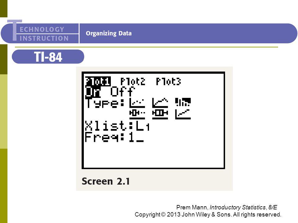 TI-84 Prem Mann, Introductory Statistics, 8/E Copyright © 2013 John Wiley & Sons.