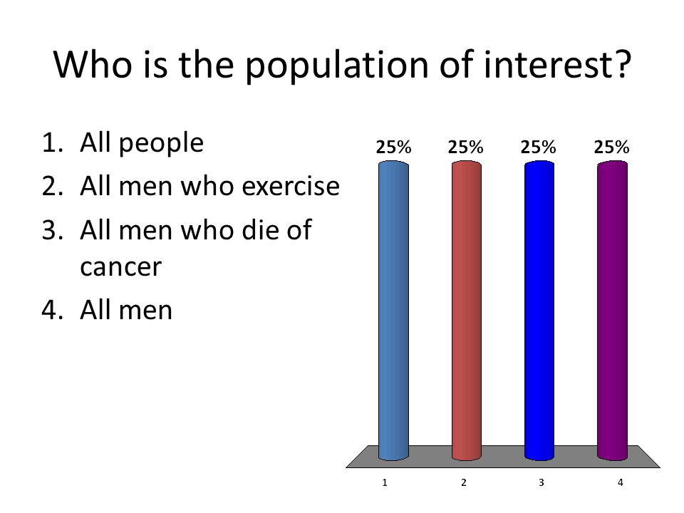 Who is the population of interest? 1.All people 2.All men who exercise 3.All men who die of cancer 4.All men