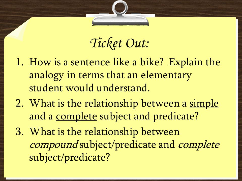 Ticket Out: 1.How is a sentence like a bike? Explain the analogy in terms that an elementary student would understand. 2.What is the relationship betw