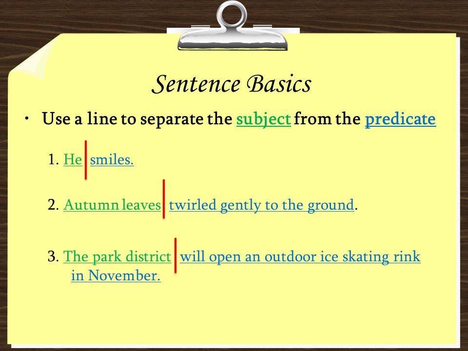 Sentence Basics Use a line to separate the subject from the predicate 1. He smiles. 2. Autumn leaves twirled gently to the ground. 3. The park distric