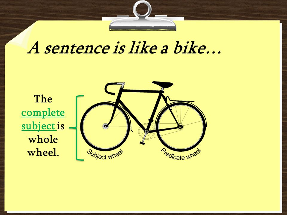 A sentence is like a bike… The complete subject is whole wheel.