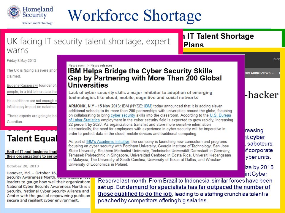 Presenter's Name June 17, 2003 Workforce Shortage 22 (Reuters) - For the governments and corporations facing increasing computer attacks, the biggest challenge is finding the right cyber warriors to fight back.