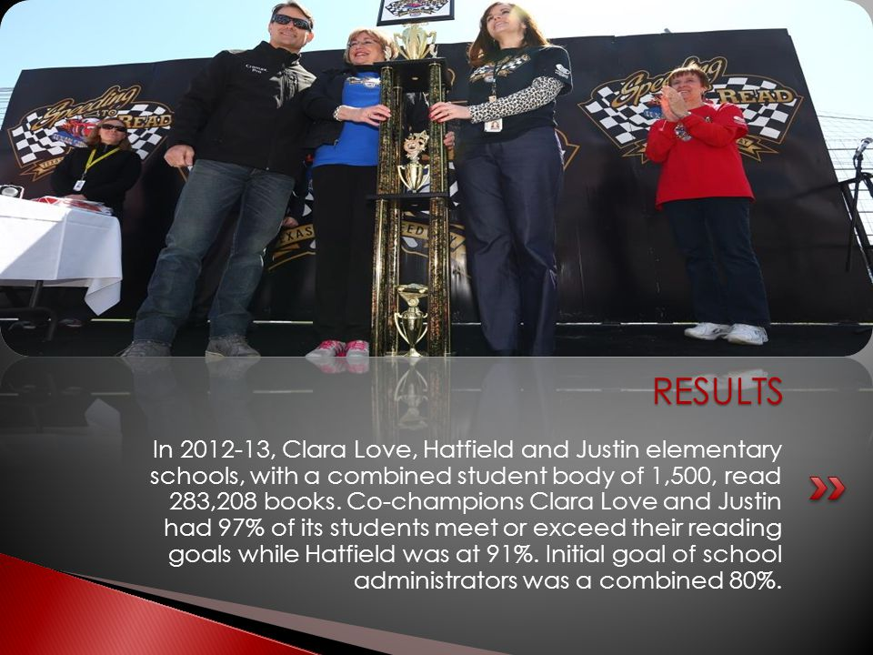 In 2012-13, Clara Love, Hatfield and Justin elementary schools, with a combined student body of 1,500, read 283,208 books. Co-champions Clara Love and
