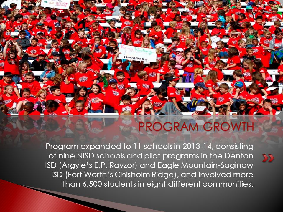 Program expanded to 11 schools in 2013-14, consisting of nine NISD schools and pilot programs in the Denton ISD (Argyle's E.P. Rayzor) and Eagle Mount