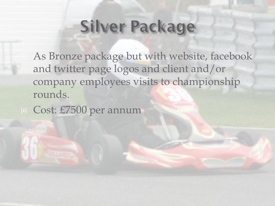  As Bronze package but with website, facebook and twitter page logos and client and/or company employees visits to championship rounds.  Cost: £7500