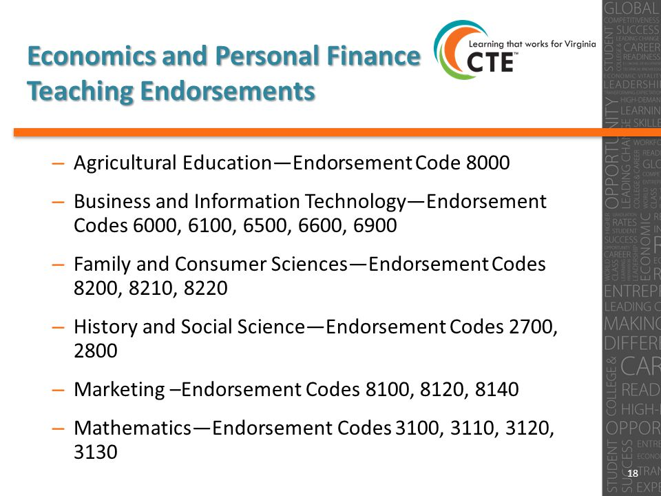 Economics and Personal Finance Teaching Endorsements – Agricultural Education—Endorsement Code 8000 – Business and Information Technology—Endorsement Codes 6000, 6100, 6500, 6600, 6900 – Family and Consumer Sciences—Endorsement Codes 8200, 8210, 8220 – History and Social Science—Endorsement Codes 2700, 2800 – Marketing –Endorsement Codes 8100, 8120, 8140 – Mathematics—Endorsement Codes 3100, 3110, 3120, 3130 18