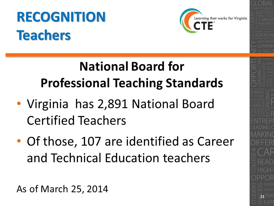 RECOGNITION Teachers National Board for Professional Teaching Standards Virginia has 2,891 National Board Certified Teachers Of those, 107 are identified as Career and Technical Education teachers As of March 25, 2014 31